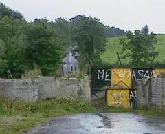 Road closure at Lackey Bridge. Source: UTV news footage, 4 September 1994