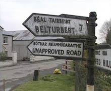 Unapproved road sign. Source: UTV Counterpoint, 24 April 1995.