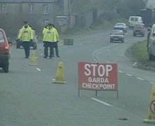 Irish Gardai border checkpoint. Source: UTV news footage, 19 August 1986.